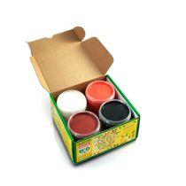 Vingerverf Oranje Bruin Wit Zwart 4X150G Okonorm