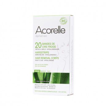 Cold Wax Hair Removal Strips Face Organic 10 X 2 Acorelle