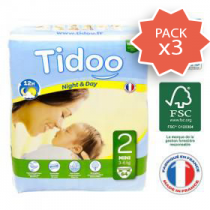 Pack 3 x Nappies Night & Day 3-6Kg 2 Mini 64 Pieces Tidoo
