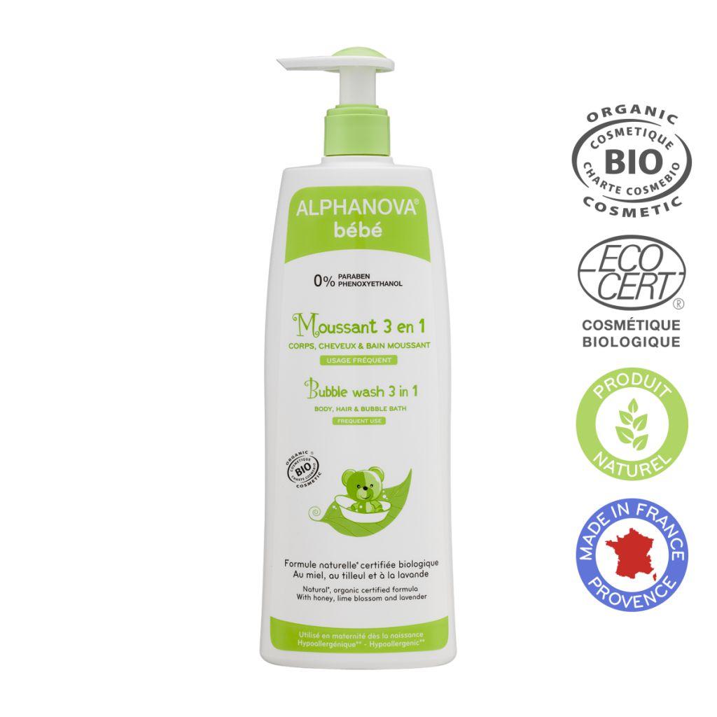 3 In 1 Bubble Wash Organic 500Ml Alphanova Baby