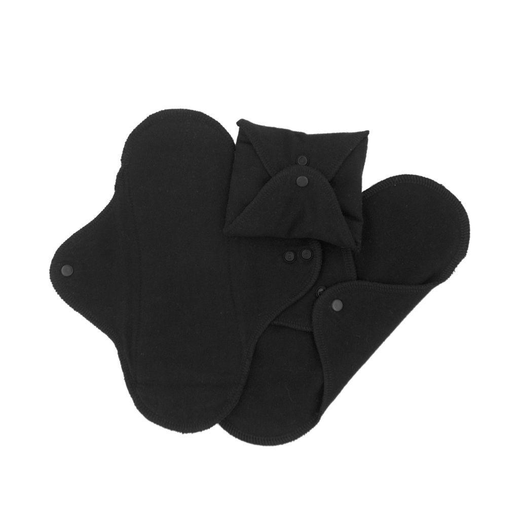 3 Serviettes Hygiéniques Lavables Noir Imse Vimse