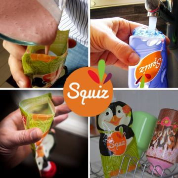 3 Squiz reusable food pouches Carnival 130ml