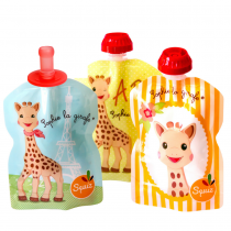 3 Squiz reusable food pouches Sophie la Girafe 90ml