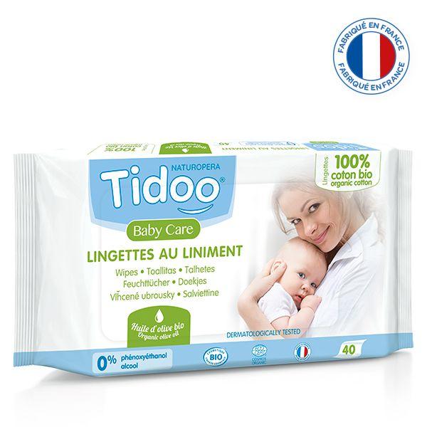40 Lingettes Bébé Liniment Coton Bio Tidoo