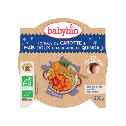 Assiette bonne nuit Carotte Maïs Quinoa 230g 12M