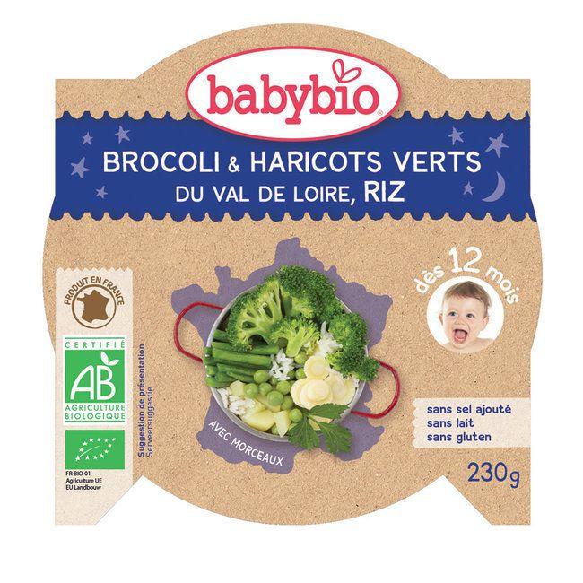 Assiette bonne nuit Légumes verts Riz 230g 12M