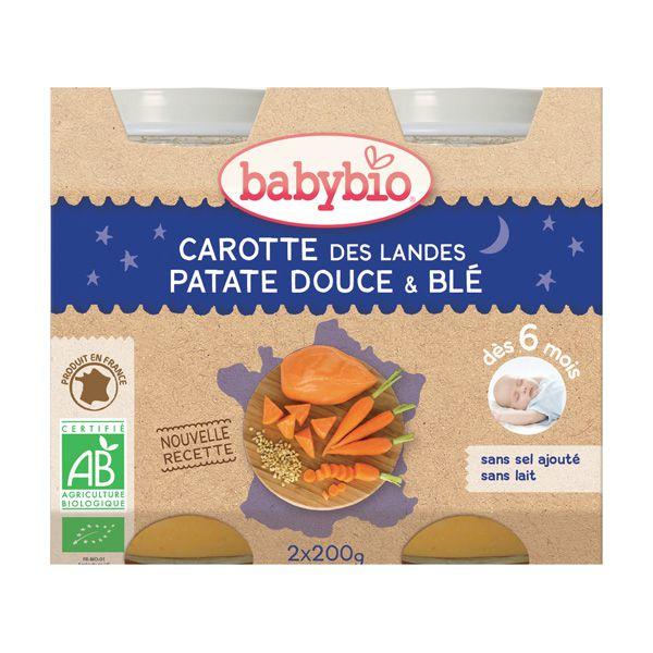 Baby Jars Carrot Sweet Potato Wheat Evening Meal Organic 2 X 200G Babybio