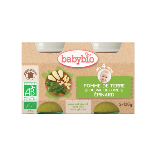 Baby Jars Potatoes Spinach Organic 2X130G Babybio