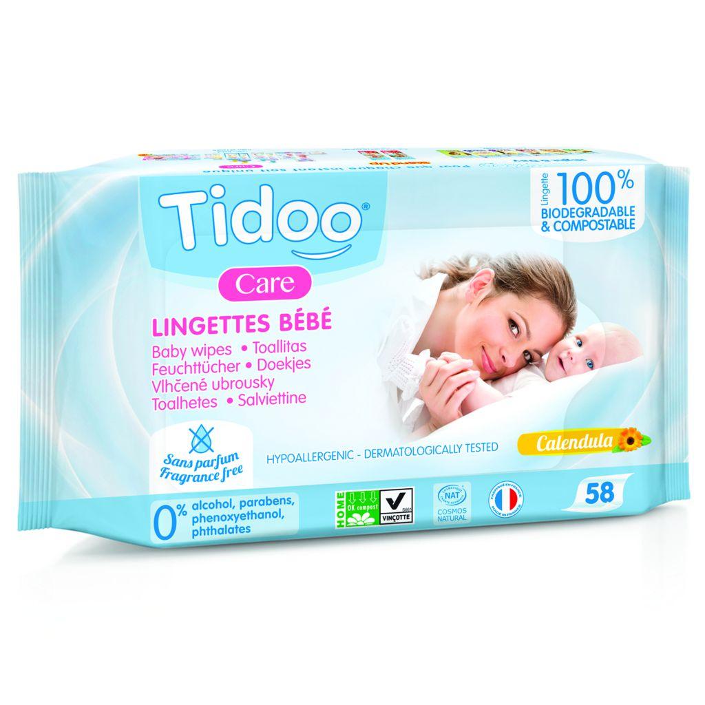 Composteerbare babydoekjes calendula bio zonder parfum 58 doekjes Tidoo