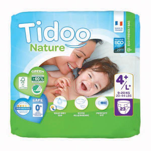 Couches Ecologiques T4+ 9-20Kg 23 Pièces Tidoo Nature