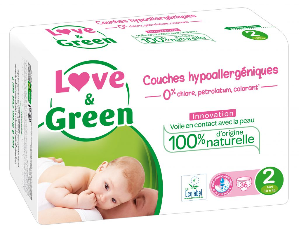 Couches Jetables Hypoallergéniques Love & Green