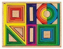 Cubes de Construction Arc en Ciel Boîte Bois Goki