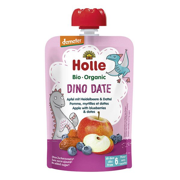 Dino Date Fruit Pouch 6M 100g Holle