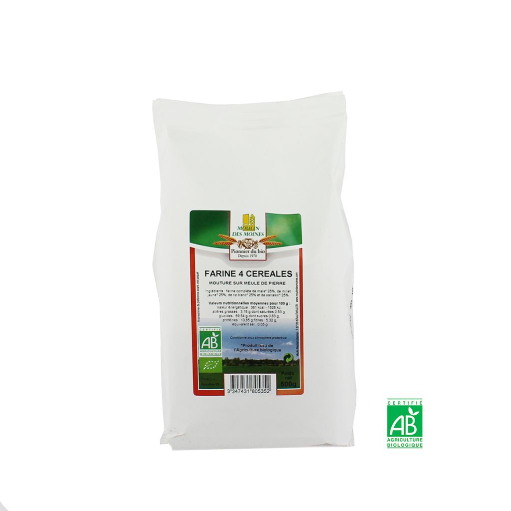 Farine Bio 4 Céréales Sans Gluten 500G