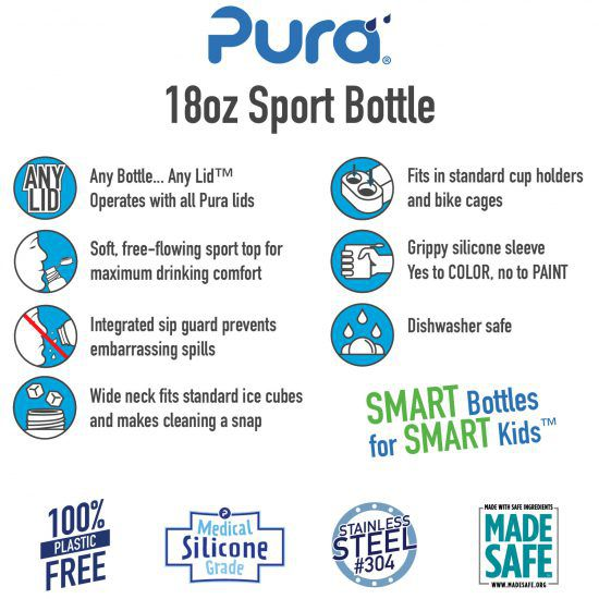 Gourde Sport Inox 550ml Bleu Pura