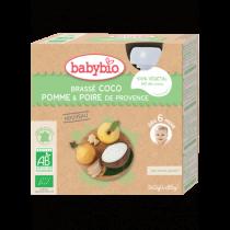 Gourdes Brassé Lait Coco Pomme Poire 4x85g 6M Babybio