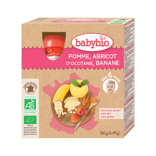 Gourdes Pomme Abricot Banane 4x90g 6M Babybio