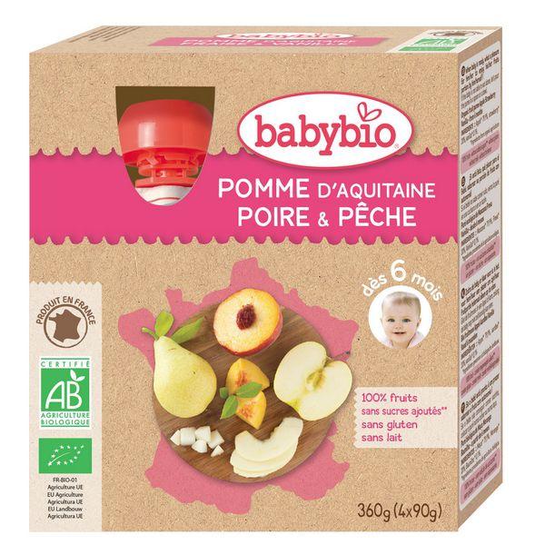 Gourdes Pomme Poire Pêche 4x90g 6M