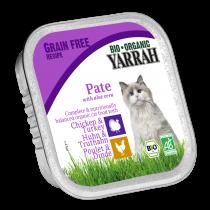Kattenvoer Pate Kip Kalkoen Aloe Vera Glutenvrij Bio 100G Yarrah