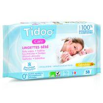 Lingettes compostables calendula bio sans parfum 58 lingettes Tidoo