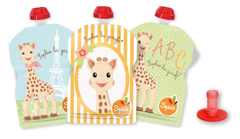 Lot de 3 Gourdes Réutilisables Sophie la Girafe 90ml + Embout BébéSquiz