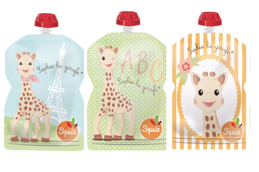 Lot de 3 Gourdes Réutilisables Sophie la Girafe 90ml Squiz