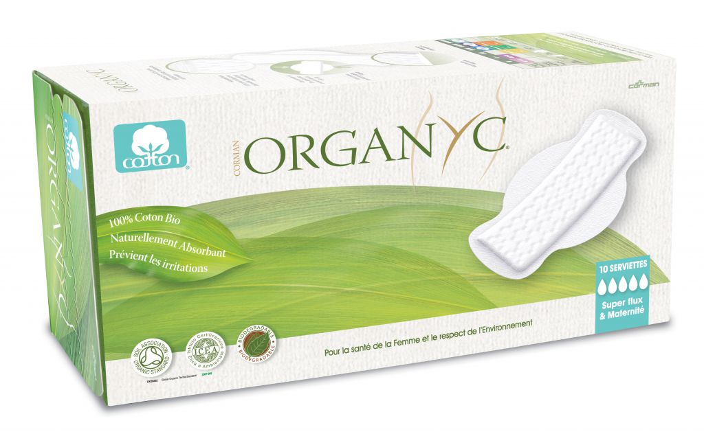 Menstrual Pads Organic Super Flow Maternity Organyc 10 Pieces