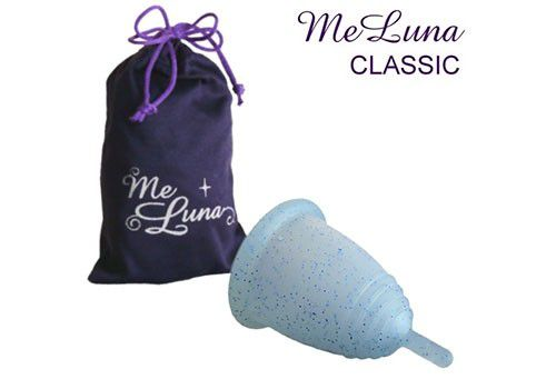 Menstruatiecup Classic Steel Maat Large Blauw Glittery Meluna