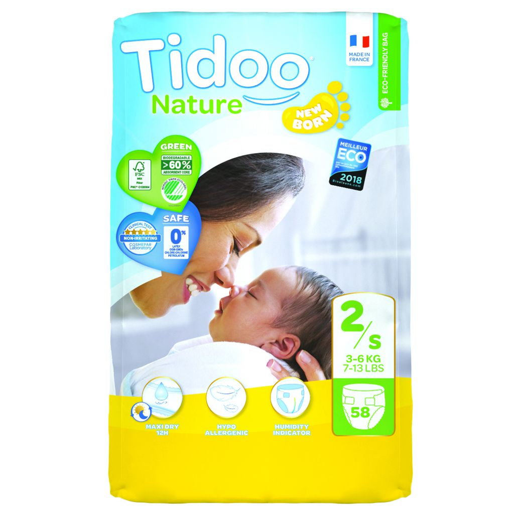 Nappies Night & Day 3-6Kg 2 Mini 58 Pieces Tidoo
