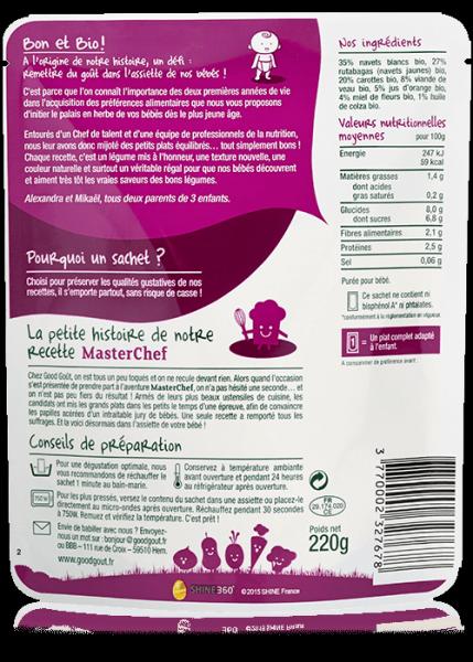 Navets carottes veau Recette Masterchef 220g dès 12 mois Good Gout DLU 26/01/18