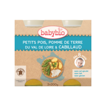 Petits Pois PDT Cabillaud 2x200g 8M Babybio