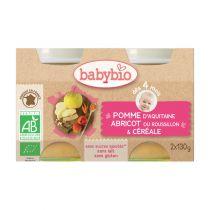 Petits Pots Bébé Pomme Abricot Céréales Bio 2X130G