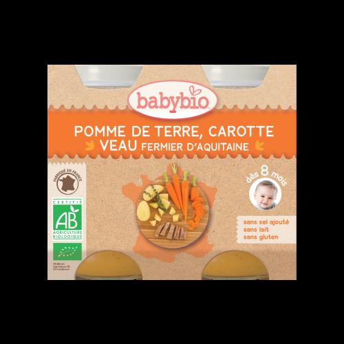 Petits Pots PDT Carotte Veau Bio 2X200G Babybio DLU 25/04/19