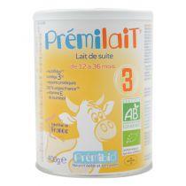 Prémilait Croissance Lait infantile 12-36 mois 400g Premibio