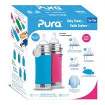 Pura Kiki 325ml Infant Bottle with Sleeve Rose
