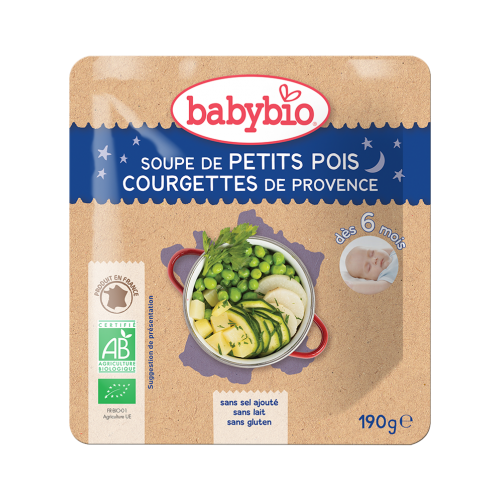 Sachet menu du Soir Soupe Petit Pois Courgette 190g 6M