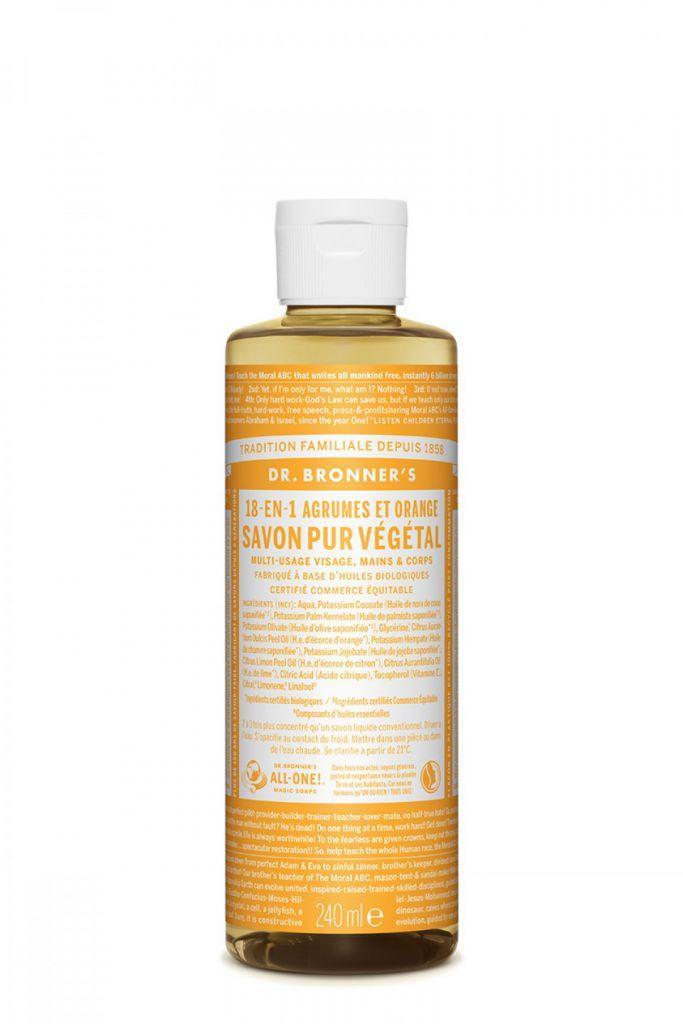 Savon Liquide 18-en-1 Agrumes Orange 240ml Dr Bronner\'s