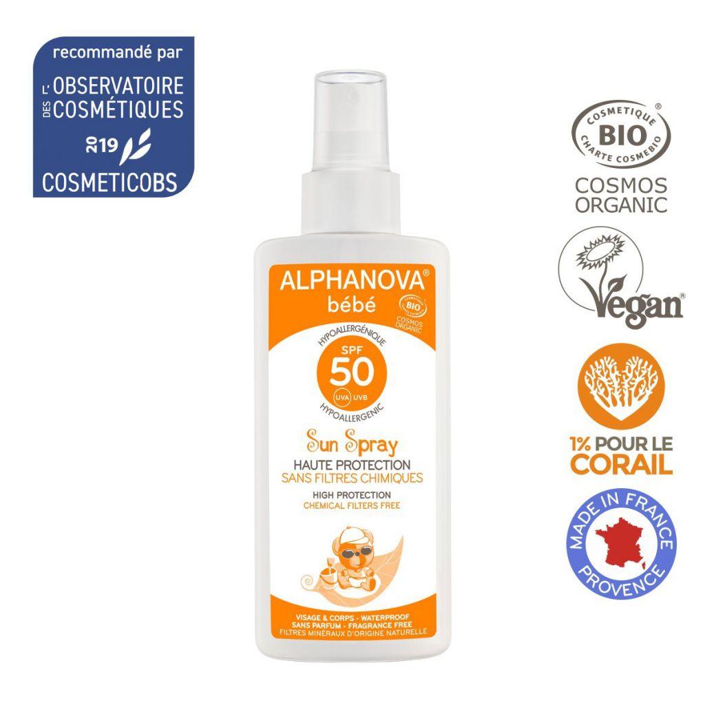 Spray Solaire Bio Très Haute Protection Bébé Spf50