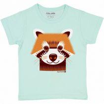 T-Shirt Panda Roux Manches Courtes Coton Bio Coq en Pâte