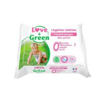 Toilet Parfum Free Baby Wipes 55 Pieces Love & Green